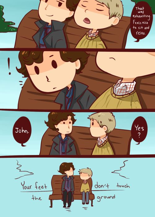 • sherlock holmes john watson bbc sherlock johnlock my fanart based off of that one picture where Martin and Benedict are sitting together and Martin's wearing the cute socks and tie and his feet doesn't touch the ground haha I just changed dick to prick because it's more british? I don't know how to talk british bro ineffableboyfriends •