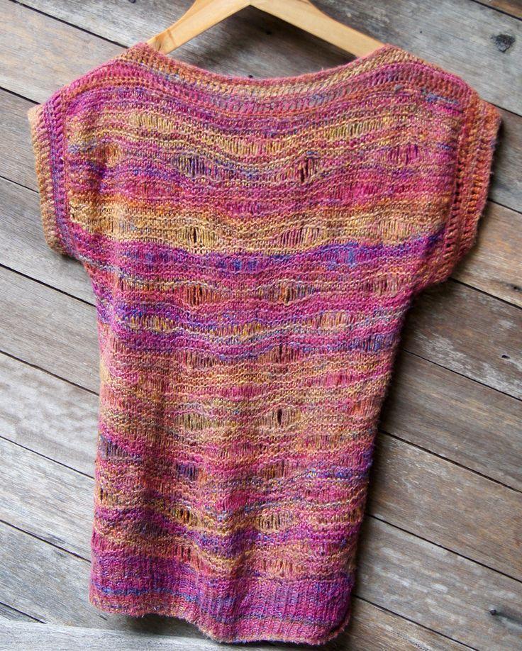Handspun silk top in 'random' drop stitch