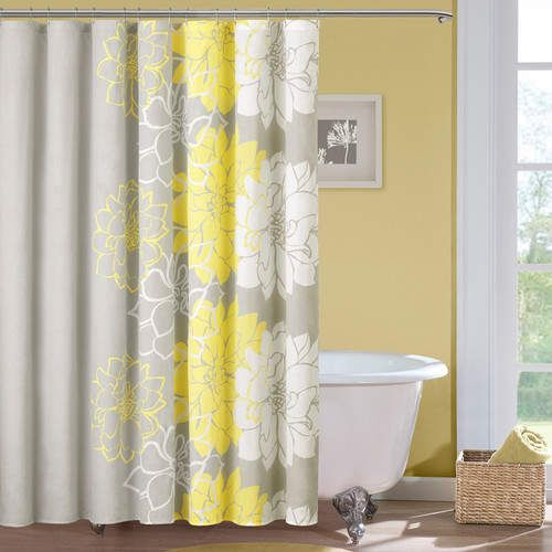 Broadwell Cotton Single Shower Curtain Yellow Shower Curtains