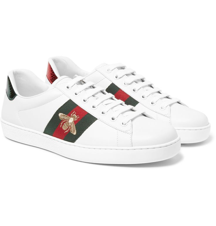 Decorated with the brand's signature striped webbing and a characterful gold bee motif, these tennis sneakers are a distinguished creation of <a href='http://www.mrporter.com/mens/Designers/Gucci'>Gucci</a>. This Italian-made pair is crafted from supple, lightweight white leather. Intentionally mismatched, metallic snakeskin-effect panels in the label's red and green hues are applied to the back, adding a final hit of personality.