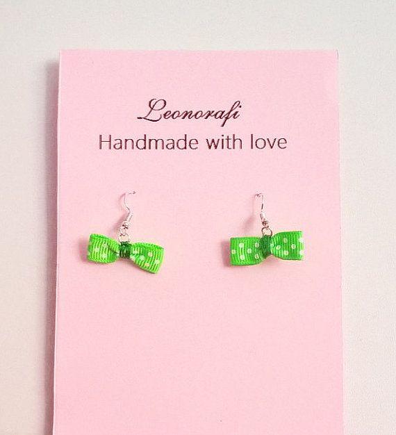 Neon green polka dot bow earrings great gift handmade by leonorafi