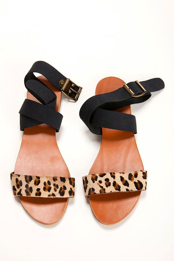 Leopard and black shoes. open flat sandal. by ImeldaShoes on Etsy