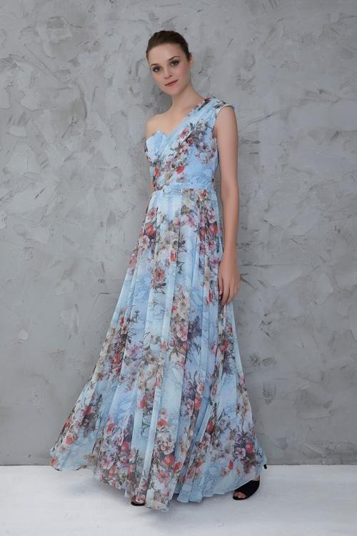 Mavi Çiçek Desenli Tek Omuz Abiye Elbise  - Fotoğraf
