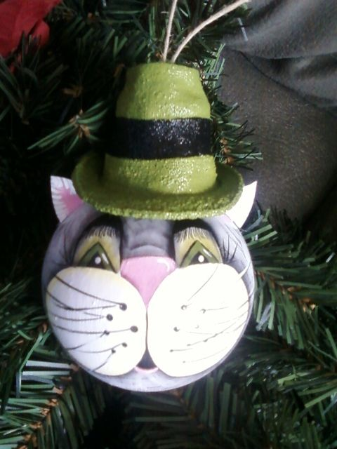 Kitty hand painted Christmas ornament made from recycled light bulb.