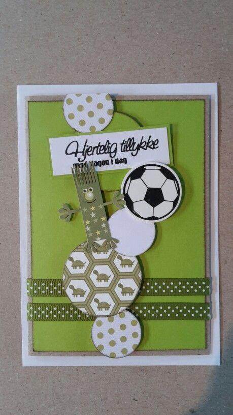Børnekort. Grønne nuancer. Cirkler. Fodbold. Trold.