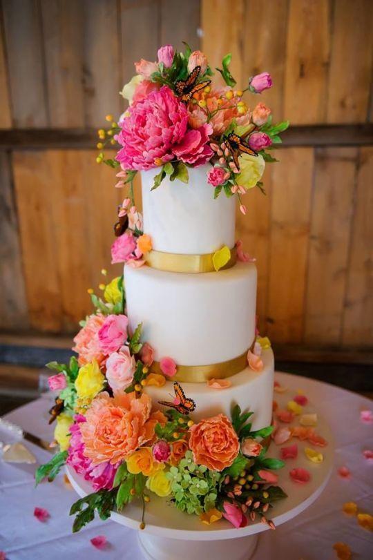 Bright Sugar Flower Wedding Cake