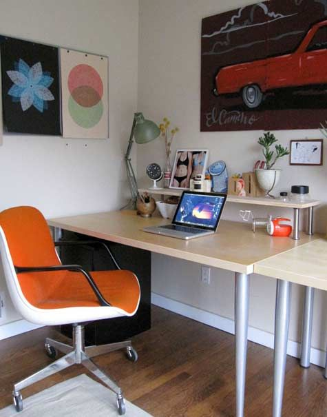 orange chair, office, desk