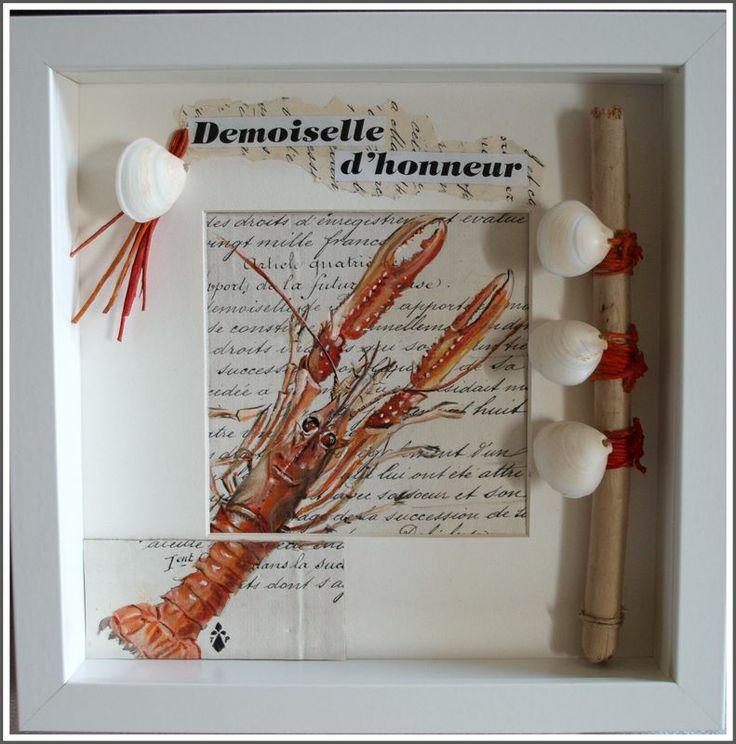 """""""Belle demoiselle de Loctudy"""" Boite numéro 10: Acrylique sur papier ancien, bois flotté, coquillage.  By Ti PIerig"""