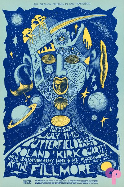 Butterfield Blues Band and Roland Kirk Quartet at the Fillmore, July 11–16, 1967. Poster by Bonnie MacLean