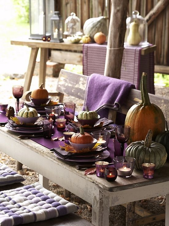 Purple fall decor...would be beautiful for thanksgiving table.: Halloween Parties, Idea, Tables Sets, Fall Decor, Fall Colors, Pumpkin, Falldecor, Colors Palettes, Fall Tables