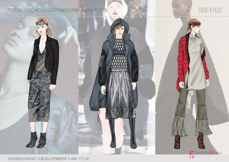 FW 2017-18 - Development - Womenswear ILLUSTRATIONS, isolated theme. Trend forecasting by 5forecaStore.