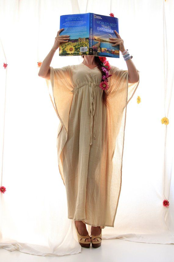 199a866ae3 Caftan Maxi Dress - Beach Cover Up Kaftan in Natural Cotton Gauze ...