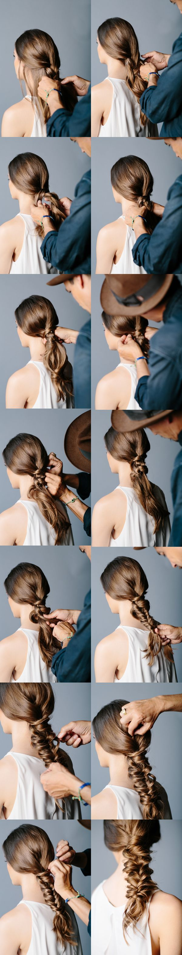 DIY Messy Fishtail Braid Wedding Hairstyles via oncewed.com