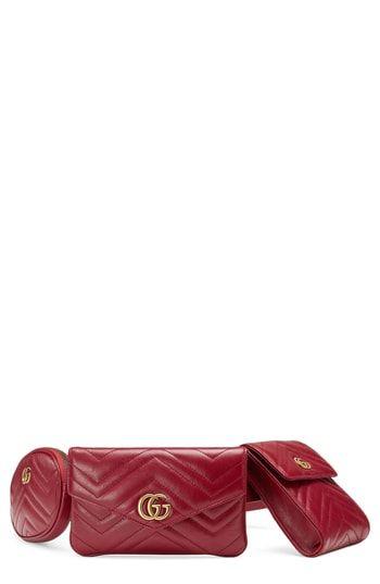 322c987cb59 New Gucci GG Marmont 2.0 Matelass  Triple Pouch Leather Belt Bag. Women s  Fashion Handbags