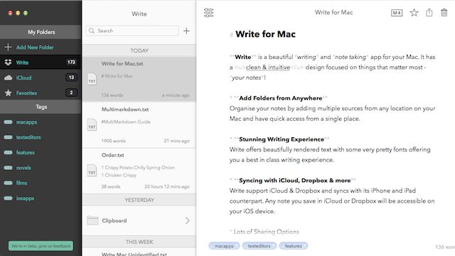 Write for Mac Brings the Minimal iOS Notes and Writing App to Desktop