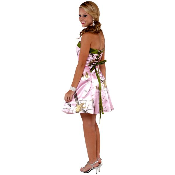 short Pink Camo Wedding Dresses | Realtree ® Short Camo Homecoming Dresses | Made in USA - Free ...