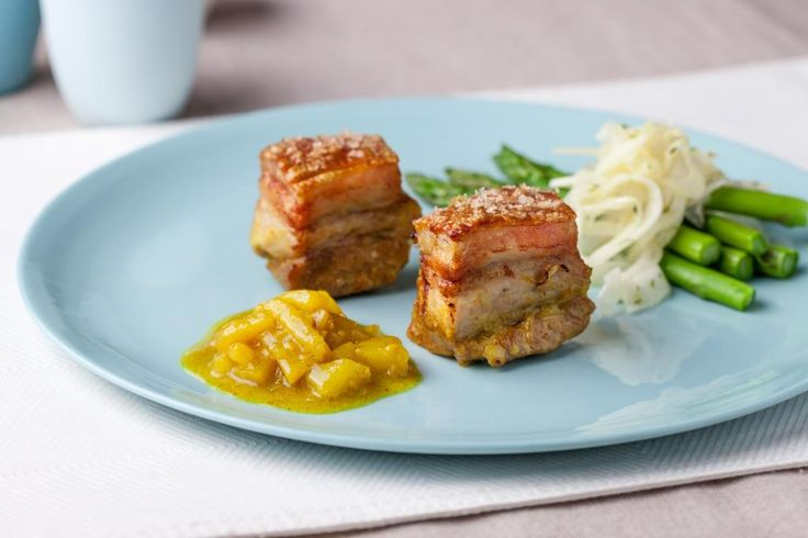 Braised Pork Belly, Fragrant Pear and Ginger Chutney: Easy and effective, this dish will leave them wanting more