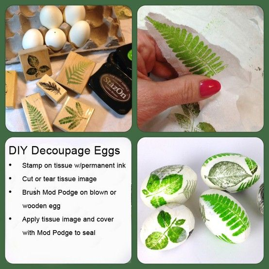 #DIY Stamped Tissue Decoupage Eggs #Easter
