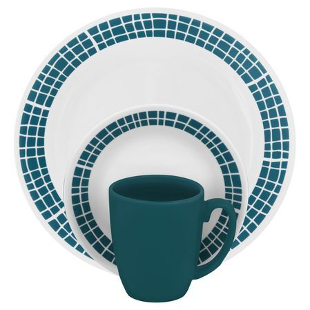 #Corelle Livingware™ Aqua Tiles 16 Pc Dinnerware Set - Bright and refreshing aquamarine mosaics burst from a coupe plate in this energizing pattern. Cheerful and contemporary, this lively pattern is a perfect complement for casual, upbeat entertaining. // click to buy