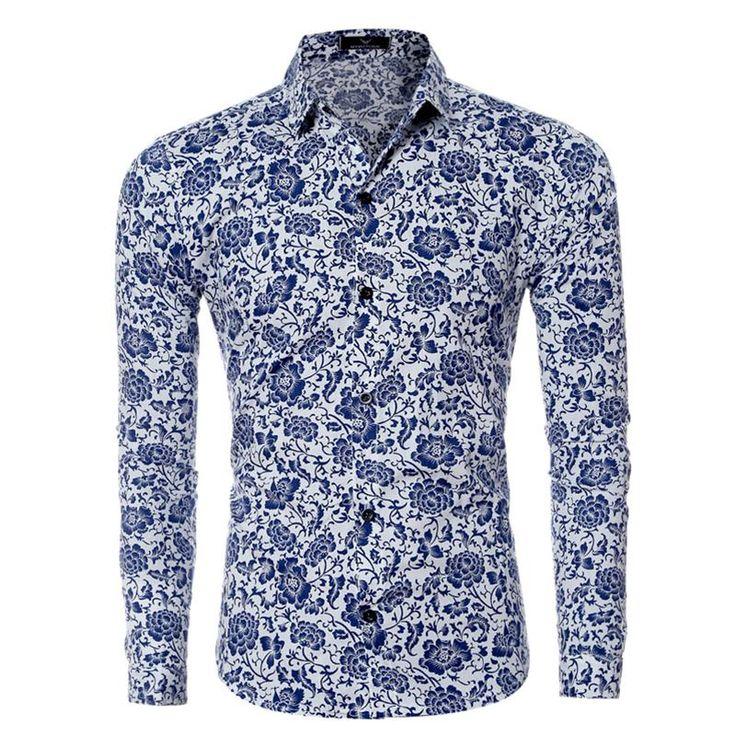 Men Shirt Long Sleeve Floral Dress Casual Shirt Quality Print Shirts