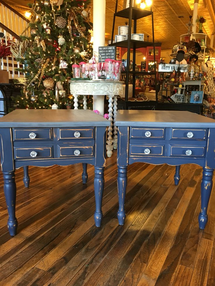 Navy Blue Distressed End Tables With A Gray Stained Top