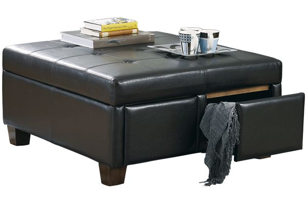 """Series Name: Durahide Bicast - Brown  Item Name: Ottoman With Storage  Model #: 3340311  Dimensions: 38""""W x 38""""D x 19""""H  Weight: 83 lbs"""