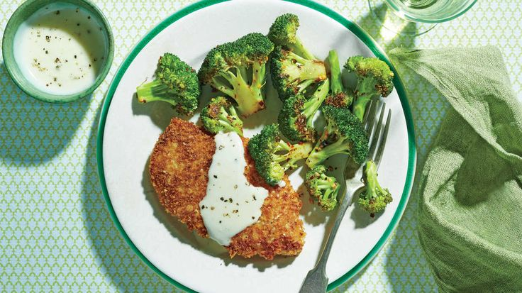 Crispy Oven-Fried Chicken Cutlets with Roasted Broccoli and Parmesan Cream Sauce Recipe - Southern Living
