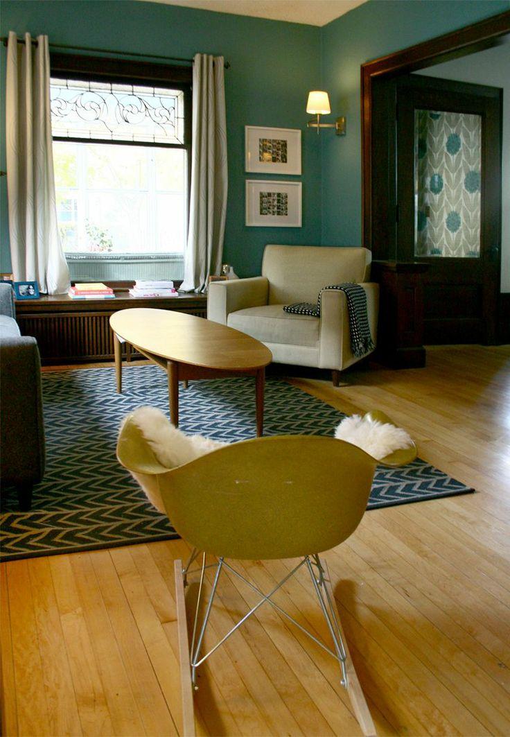 Vintage blue green. Nice window dressing for door too.: Wall Colors, Dark Woods Trim, Teal Wall, Idea, Living Rooms, Paint Colors, Dark Trim, Paintings Color, Dark Wood Trim