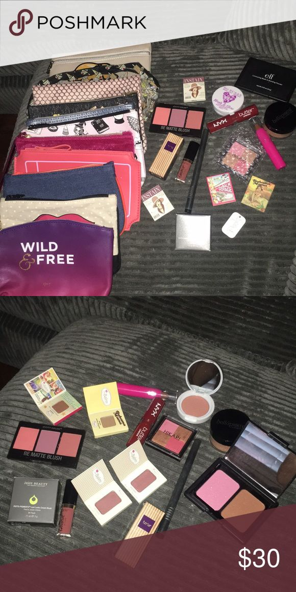 """Brand new make up/make up bags 11 unused ipsy bags! 15 pieces of unused makeup!           -3 blush/bronzer combos -tarte lip paint -tarte maracuja oil -""""the balm"""" bronzer -2 """"the balm"""" cheek stains -""""the balm"""" eye shadow -""""So Susan"""" blush&glow -""""juice beauty"""" cream blush -NYX butter lipstick -contour stick -""""aurora"""" liquid eye liner -Bellapierre mineral blush. Makeup"""