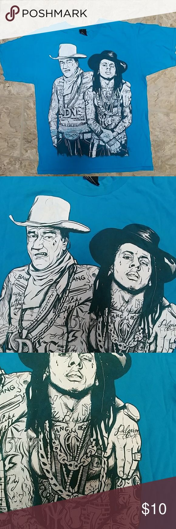 """Upper Playground  Lil Wayne/Duke t-shirt sz L Beautiful teal color and very funny with the Duke John Wayne and Lil Wayne the rap singer.  Nice condition. 52"""" chest. upper playground Shirts Tees - Short Sleeve"""