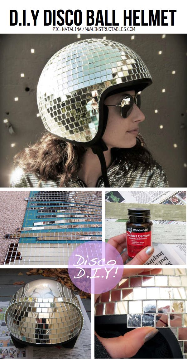 DIY Disco helmet :) Perhaps Morgan would wear this! I'd do anything to keep her safe and Lookin Cool! :o)