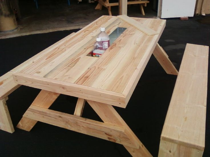 8 Ft Douglas Fir, Oversized, Wrapped Picnic Table With 3ft Galvanized Ice  Trough With