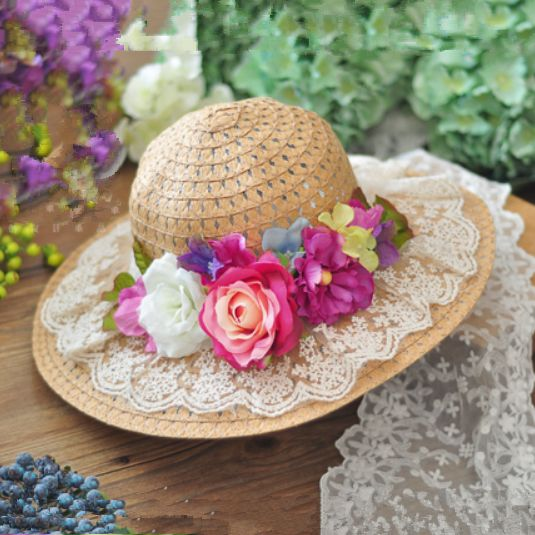 Vintage straw hats for girl lace flower decoration wide brim hat
