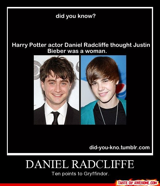 Did you know? Harry Potter actor Daniel Radcliffe thought Justin Bieber was a woman. Daniel Radcliffe: Ten points to Gryffindor