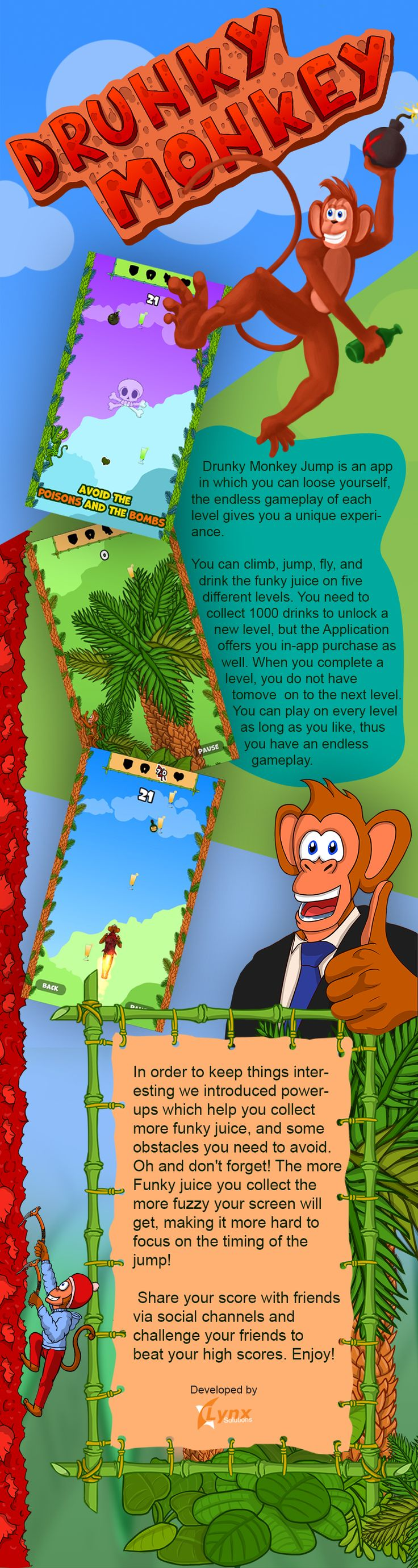 Drunky Monkey Jump! Endless gameplay, 5 levels! How manny bottles of Funky Juice can you drink?