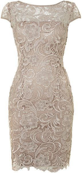 ADRIANNA PAPELL Beige Cap Sleeve Lace Dress - Lyst