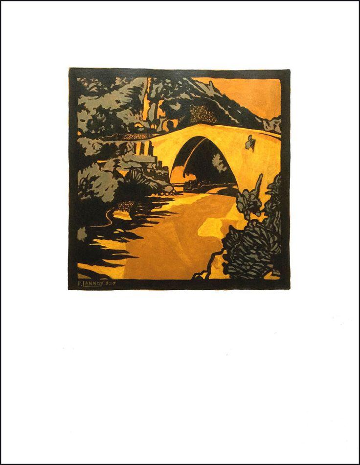 """Pont roman de Nyons N°3 Acrylic on paper 65 x 50 cm 25""""19/32 x 19""""11/16 40 € Caveau du Prieuré, Vinsobres (France)"""