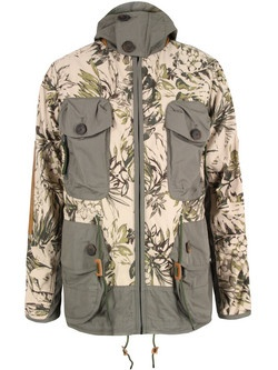 PRPS – mens stone fishing jacket with a tonal floral print and peaked drawstring hood with green mesh lining and orange bound internal seams. The jacket also features a high buttoned collar, concealed zip fastening, contrast dual entry chest pockets with zip and button fastenings, tan leather elbow patches and a drawstring waist with leather drawstring stoppers. Other details include a leather PRPS Goods embossed shoulder patch, two buttoned hip pockets, a single rear pocket and adjustable…