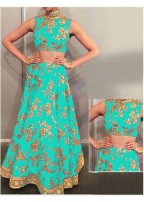 Bollywood Replica - Deepika Padukone In Turquoise Silk Lehenga Choli -  Mastani05