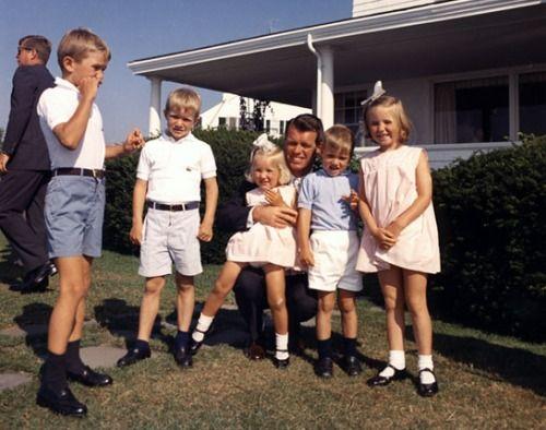 Bobby Kennedy Jr., David Kennedy, Kerry Kennedy, Bobby Kennedy, Michael Kennedy and Courtney Kennedy, with JFK in the background
