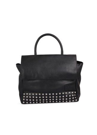 Buy Black Satchel Online at Best Price at Thia :  Black satchel Rs. 3,200.00  Availability: In stock      Description -      100 % Real Leather Black embellished satchel crafted in leather single handle Embellished with studs which adds to the beauty of the bag Flap enclosure with 2 magnets on each end One main compartment with an inner pocket and mobile pocket