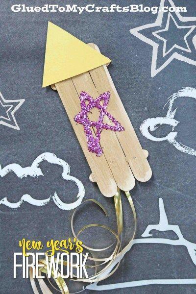 Wood Craft Stick New Year's Fireworks - Kid Craft