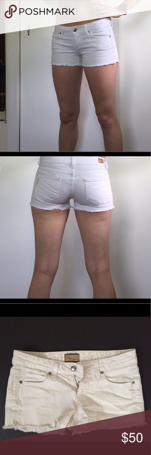 🐳SALE🐳 Paige White Denim Shorts EUC. No stains or visible wear on outside. Normal wear on inside (pictured). Cut off hem. Paige Jeans Shorts Jean Shorts