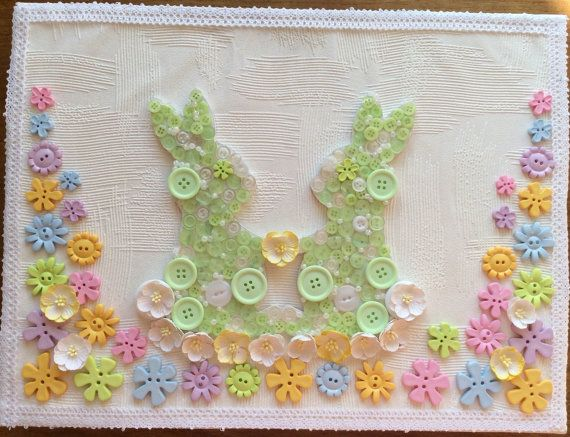 Love bunnies nursery picture new baby Christening by DunnCrafting