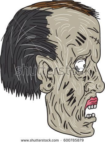 Drawing sketch style illustration of a zombie skull head viewed from the side set on isolated white background.   #zombie #sketch #illustration