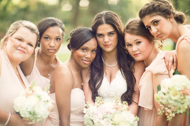 Bridesmaids | Jenny Yoo Aidan Dress | Baby Pink | Pearls | Plantation Wedding | Southern Wedding | Three Nails Photography