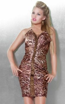 As Picture Sheath/Column Strapless Natural Short/Mini Sleeveless Pattern Prom Dresses Dress