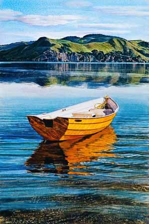Dinghy and Tokatoka Point Raglan by Jane Galloway for Sale - New Zealand Art Prints