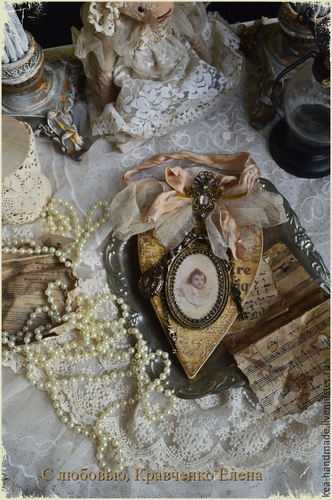 """Купить Интерьерная подвеска """"Винтажное сердце"""". - бежевый, винтаж, винтажный стиль, интерьер, интерьерное украшение"""