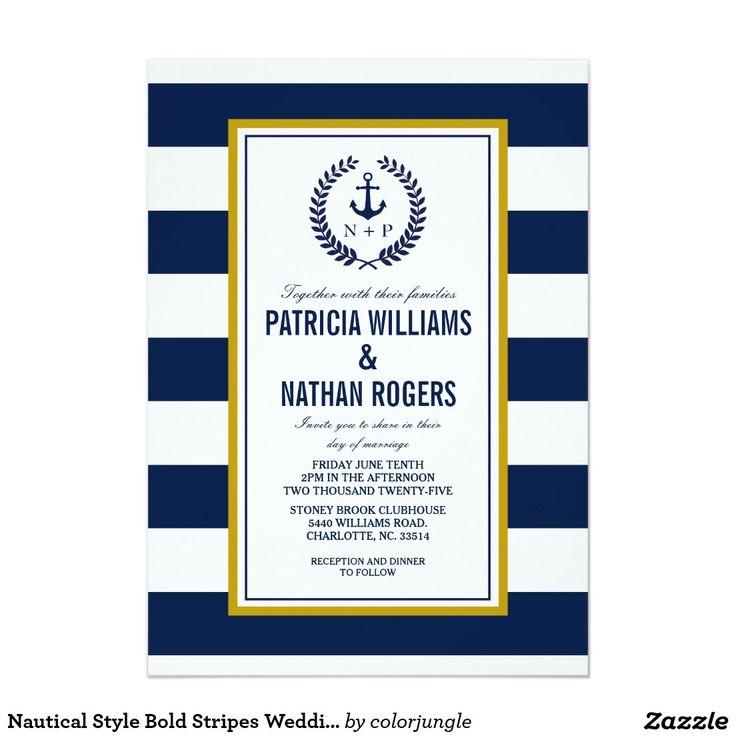 Listras corajosas do estilo náutico que Wedding Convite 12.7 X 17.78cm